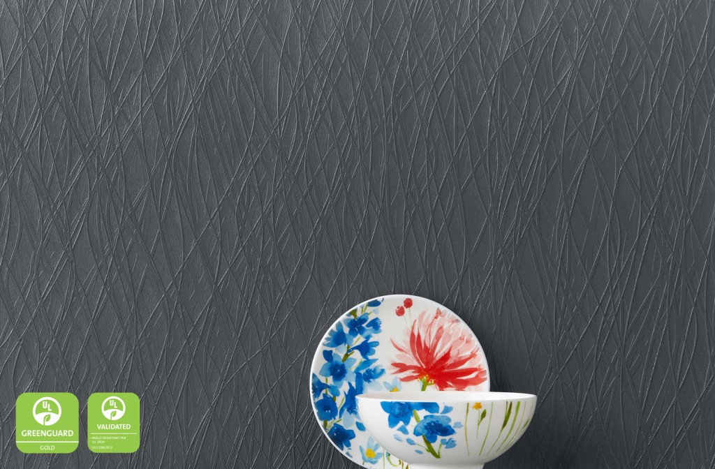 DuPont™ Tedlar™ Wallcoverings - Essentials - Charcoal. Courtesy of DuPont Electronics & Imaging