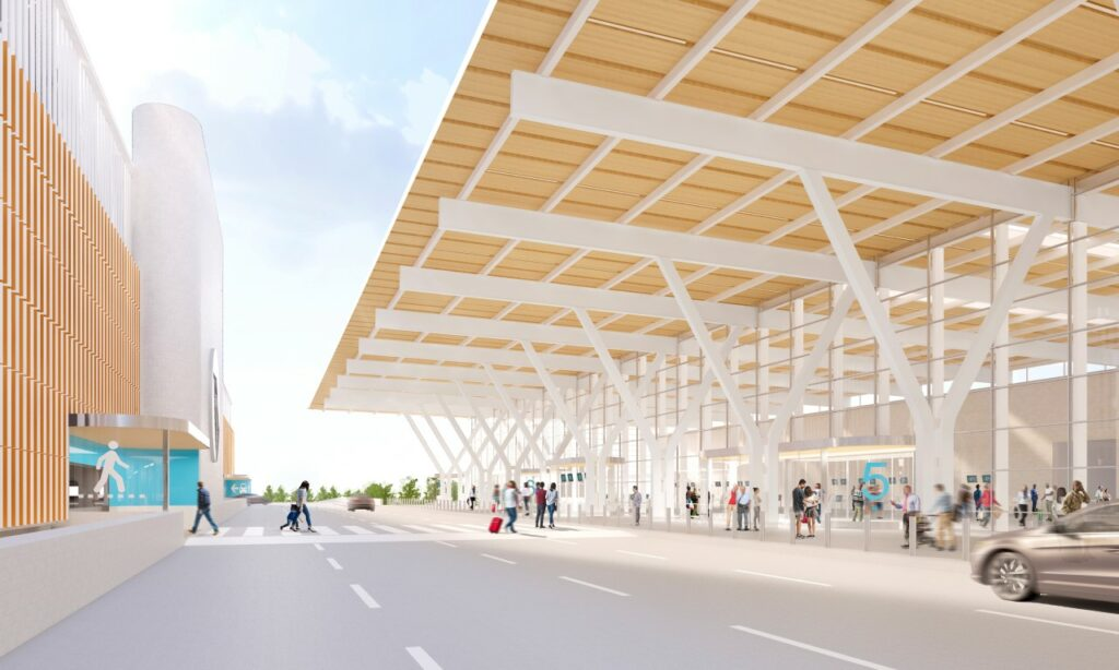 Rendering of KCI new terminal departures entrance. Rendering credit: Skidmore, Owings & Merrill