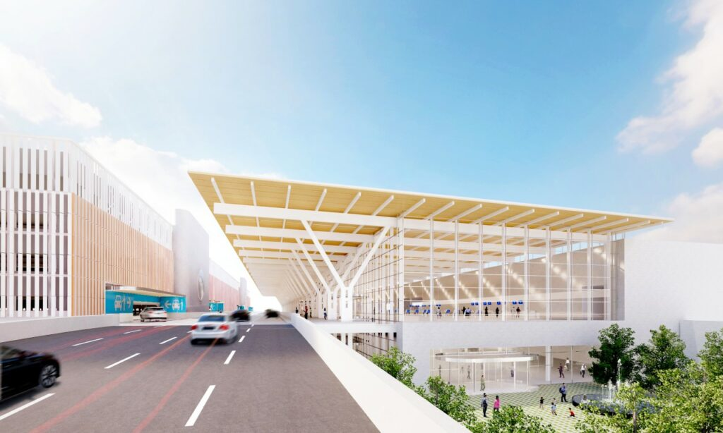 Rendering of KCI new terminal approach. Rendering credit: Skidmore, Owings & Merrill