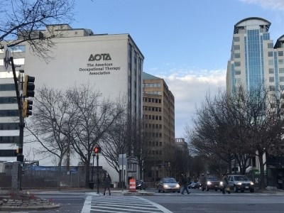 Existing AOTA location in Bethesda, MD with their current logo on the building exterior. DCS Design will be designing their new office space as well as their new brand identity. Courtesy of DCS Design