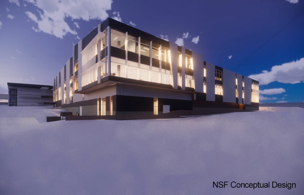 This is an archival conceptual design of the west face of the main facility to be built in McMurdo as part of the Antarctic Infrastructure Modernization for Science (AIMS)  [https://future.usap.gov/] effort. Subsequent design refinements are expected to replace, and may already have superseded, this concept. Credit: NSF