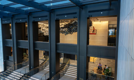 """In the Heart of this Infinite Particle of Galactic Dust, 2019"" sculpture transforms Willis Tower's Wacker Drive lobby"