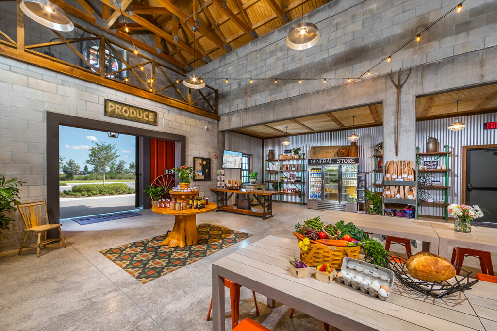 The Barn features the Arden General Store, providing residents a unique experience for shopping local. Courtesy of Freehold Communities