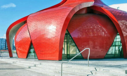 Architects Design Pavilion to Mimic Flower with Stunning Red Petal Facade