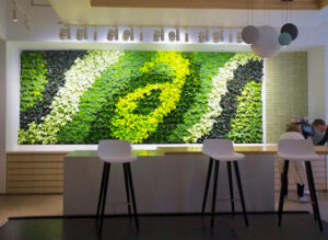 The new ASICS design studio in Boston features a GSky® living green wall in the employee break bar. Courtesy of GSky Plant Systems, Inc.