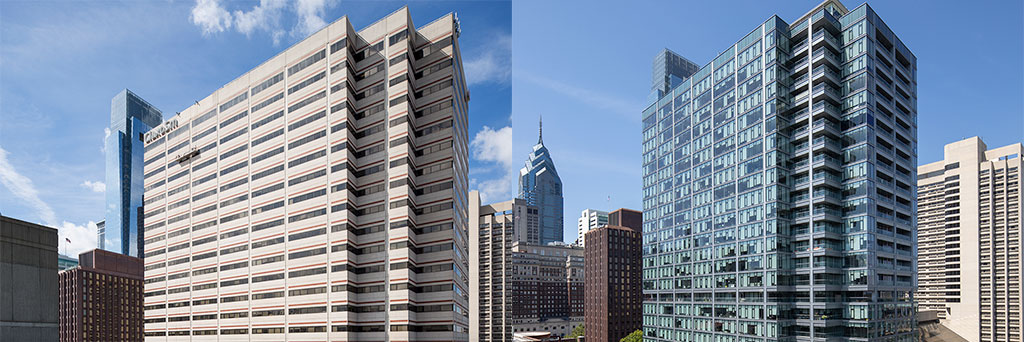 Before (left) and after (right) photos of Franklin Tower Residences, Philadelphia. Photo credit: Greg Benson Photo, courtesy of Apogee Enterprises, Inc./Linetec