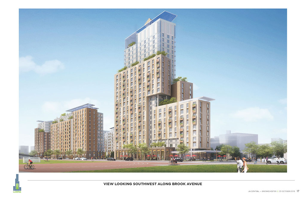 La Central, a mixed-use, multi-family residential complex in the South Bronx, New York City. Rendering courtesy of FXCollaborative