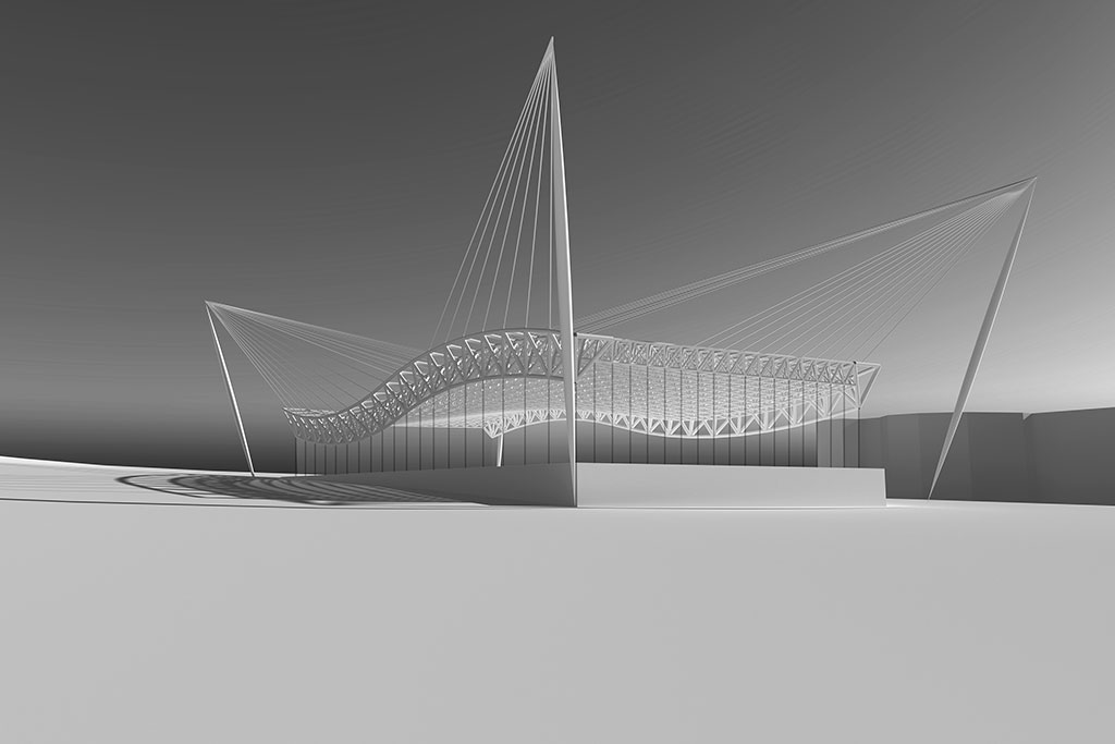 Team of two students analyzed and proposed a new long span structure for a campus aquatic center.