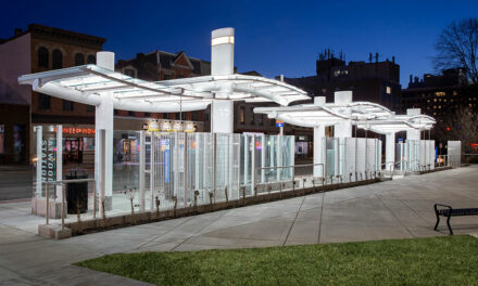 Port Authority's transit station's glass canopy custom-engineered and fabricated by EXTECH
