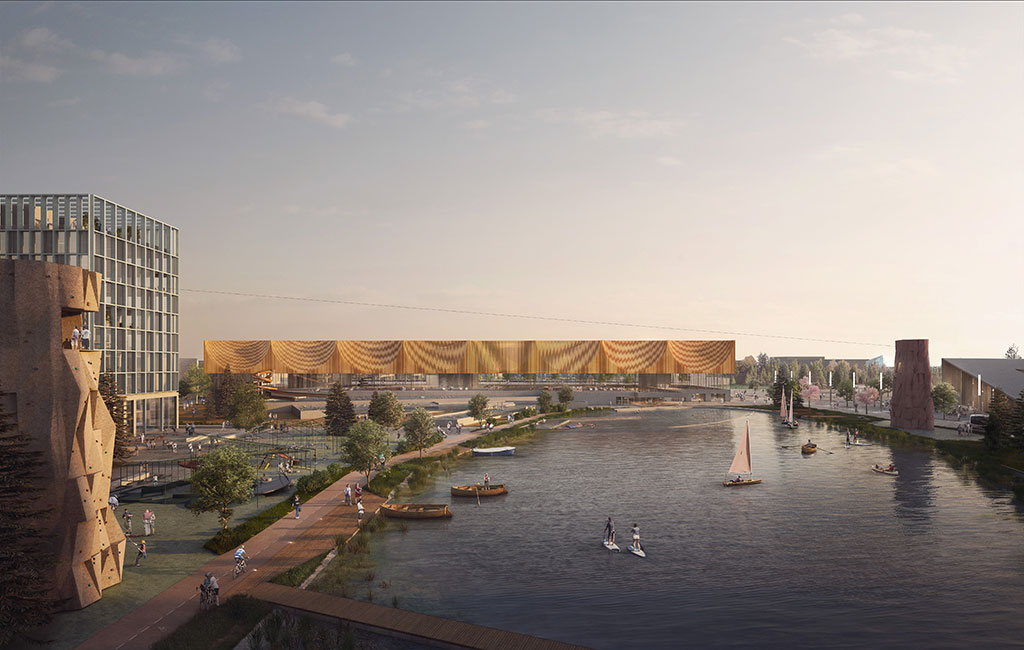 Oslo Airport City by Nordic - Office of Architecture and Haptic Architects is the winning masterplan design for Oslo Airport City, which aims to become the first energy positive airport city powered entirely by renewable energy. Situated on a 370-hectare site beside Oslo Airport, the sustainable smart city will be driven by green technologies, and centred around a public park with a large lake and cycle path. Image credit: Nordic - Office of Architecture and Haptic Architects