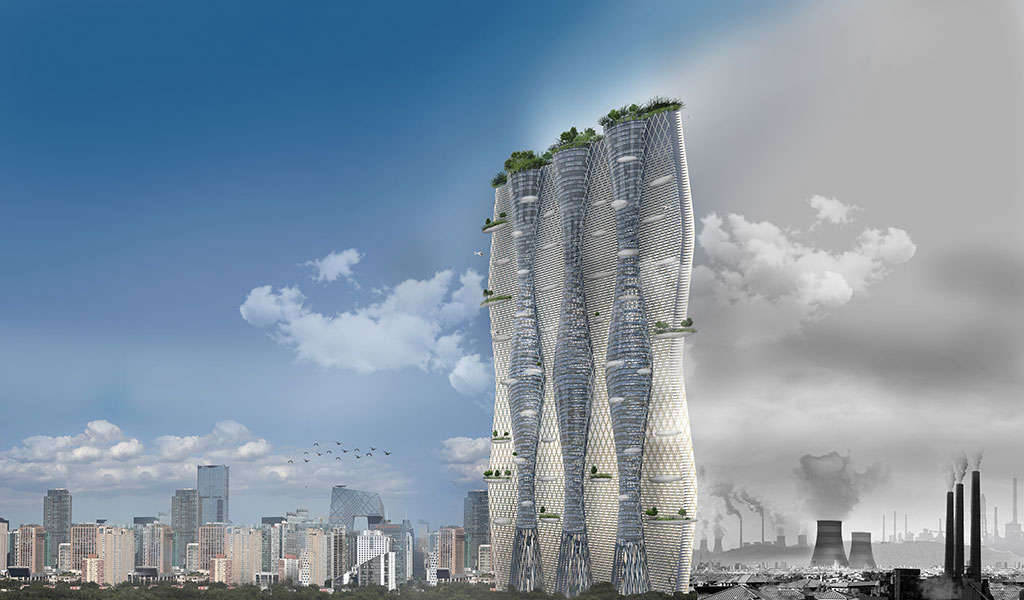 Sanatheon Vertical City by Desitecture is an experimental design featuring a living algae wall, and a biomass algae converter to supply the building's energy, in conjunction with solar panels. Its central core turbines draw air through the buildings' cores and its towers act as ionisation veils attracting and absorbing the particles which form the vast dust cloud which plagues Beijing. Image credit: Desitecture