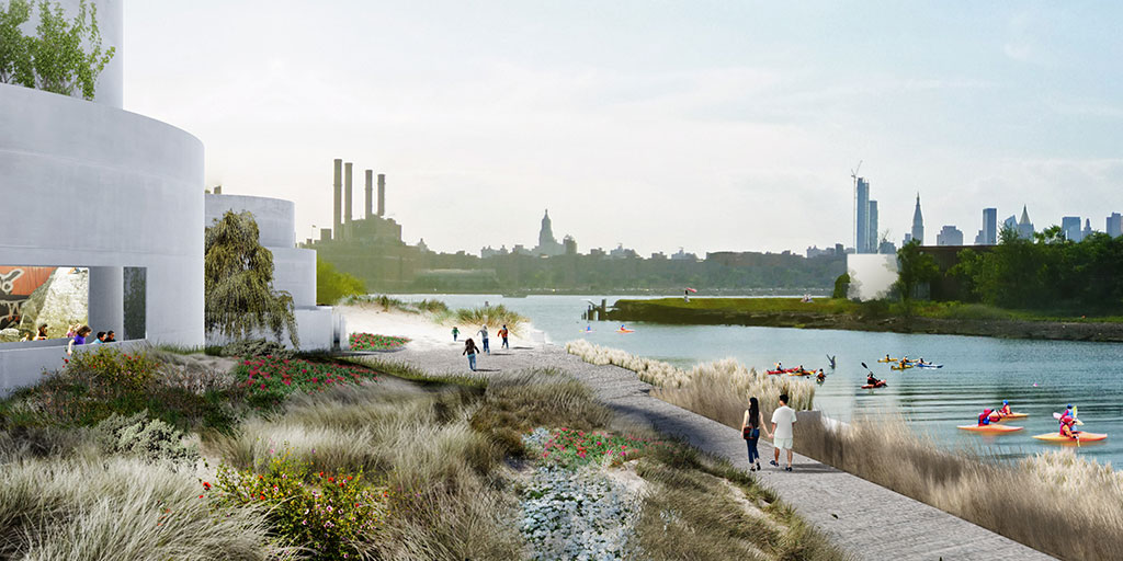 The Tanks at Bushwick Inlet Park is a project vision by Studio V for the site of the former Bayside Oil complex on the Brooklyn Waterfront. The project's aim is to repurpose ten former oil tanks to create community gardens, performance spaces and galleries. Part of the project is also to to re-grow the devastated oyster population in New York Harbor by creating a suitable habitat in one of the empty tanks. Image credit: STUDIO V and Ken Smith Workshop