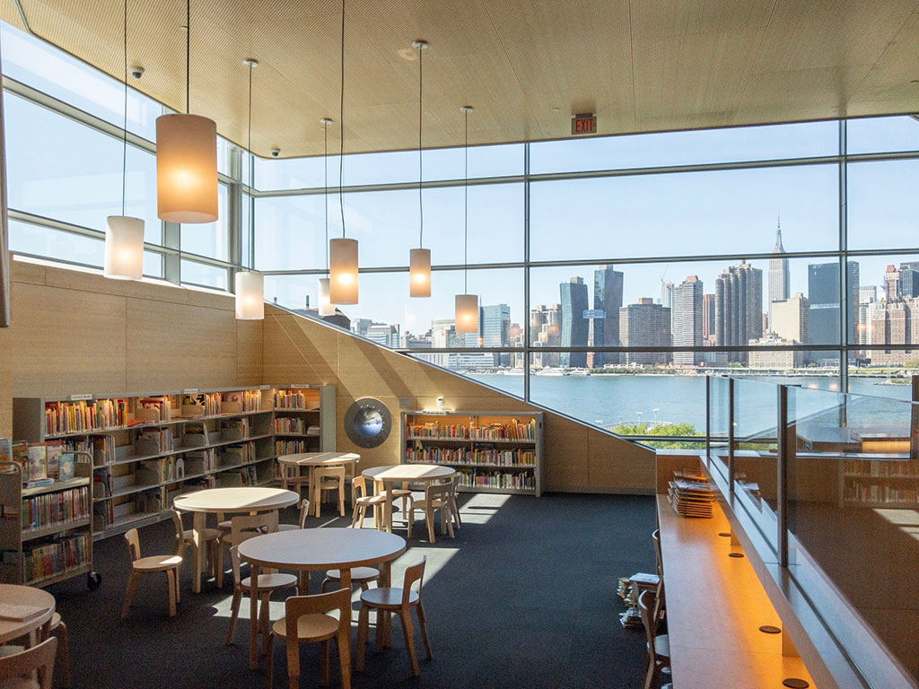 The interior of the Hunters Point Library includes bamboo cladding. Photo courtesy of Steven Holl Architects