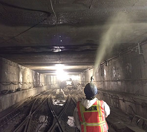 Cem-Kote CW Plus spraying, South Ferry Subway, in New York. Photo courtesy of Gemite Products Inc.