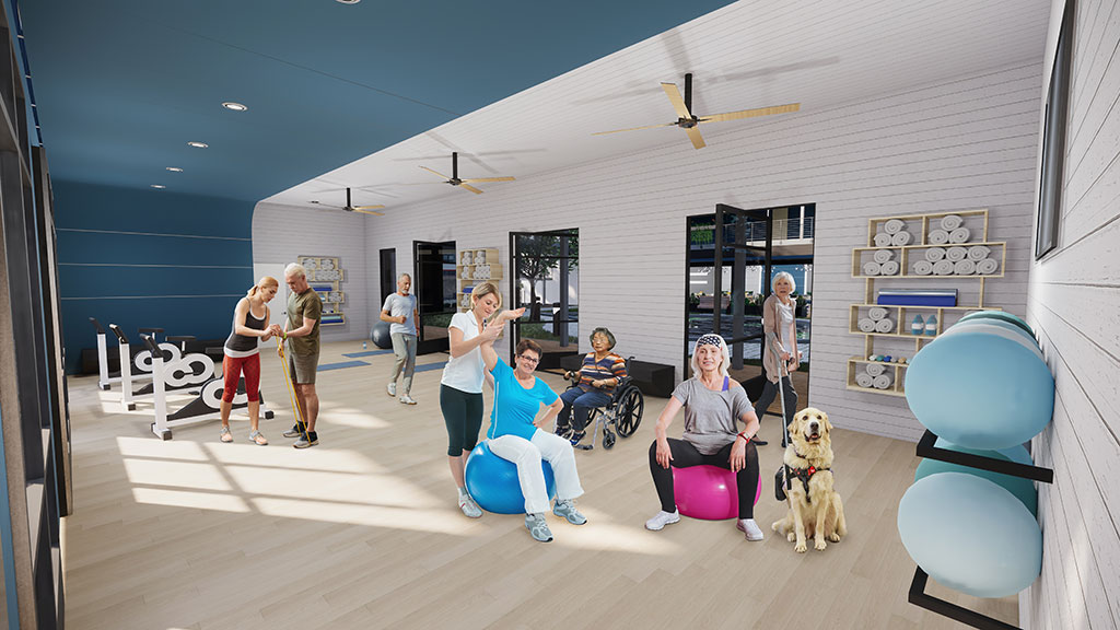 Fitness and Physical Therapy | Residents meet with physical therapists in the fitness room for support with recovery and ongoing physical health. Image credit: KTGY's R+D Studio