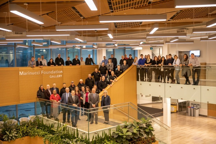 Executive staff, steering committee members and The Joyce Centre facilities team gather to mark the building's latest certification milestone. Courtesy of Mohawk College