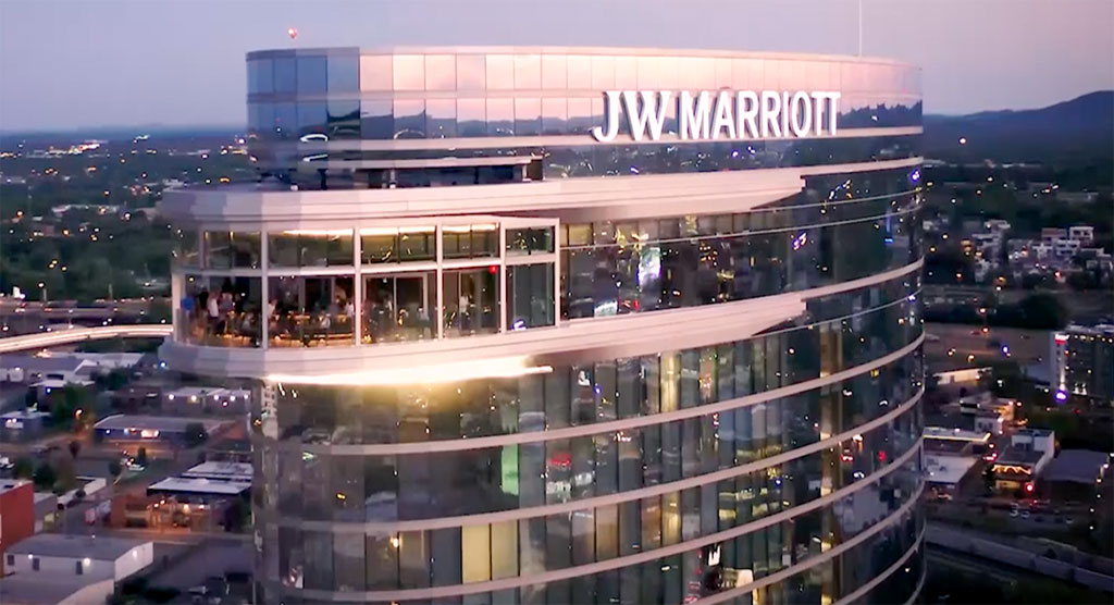 The new JW Marriott Nashville leveraged thermally broken window wall to achieve the look and feel of curtain wall, with high energy performance. Photo credit: Ben Eytalis of Lunarvue Media Services