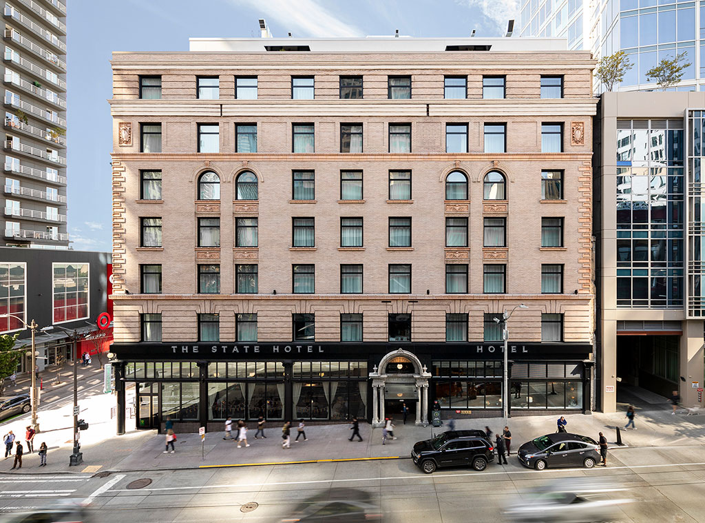 In April of 2019, the newly restored Eitel Building in Seattle reopened as the State Hotel, supported by the Ben Paris Restaurant, its name paying homage to one of the building's previous restaurant tenants. Photo credit: Andrew Nam