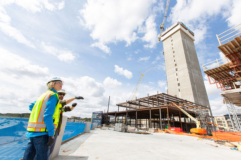thyssenkrupp Elevator U.S. test tower construction. The core of the test tower in Atlanta was built up at a rate of more than seven feet per day and completed ahead of schedule in 57 days.  Photo credit: Ron Acord