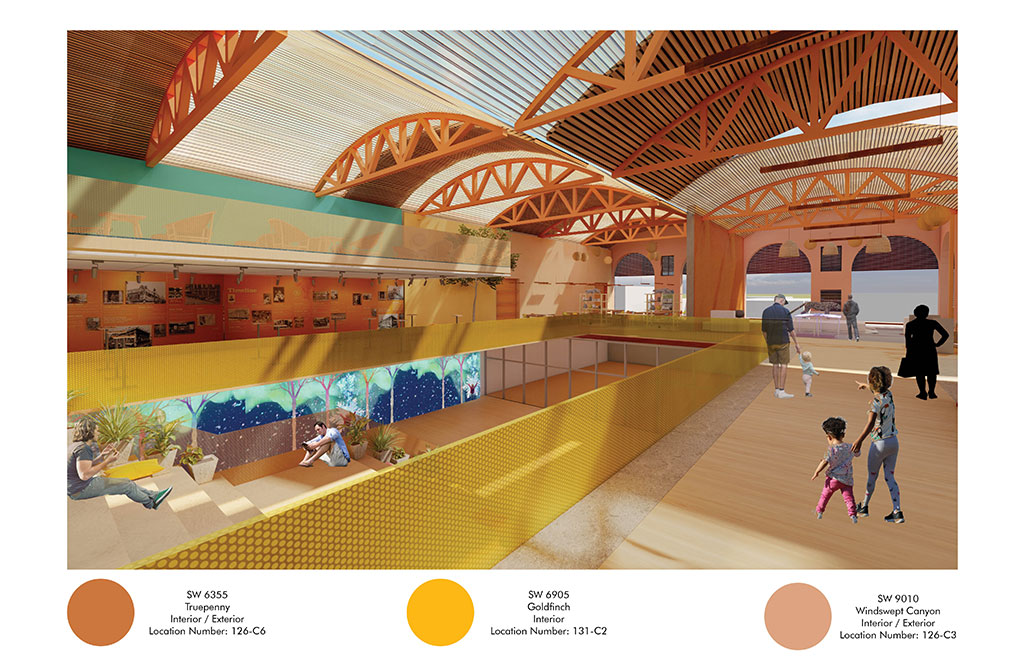 """Sherwin-Williams 2020 Student Design Challenge third place winner in the commercial category: Ankita Gogne, California State Polytechnic, """"Reunirse Mexican Center of Culture and Art."""""""