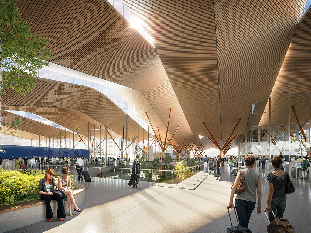 Rendering of Pittsburgh International Airport. Photo credit: ©Gensler and HDR in association with luis vidal + architects