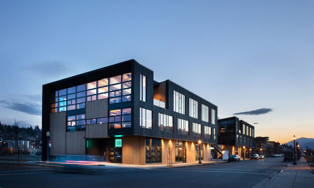Outpost, Hood River, Oregon, a dynamic mixed-use building serves as catalyst for waterfront development