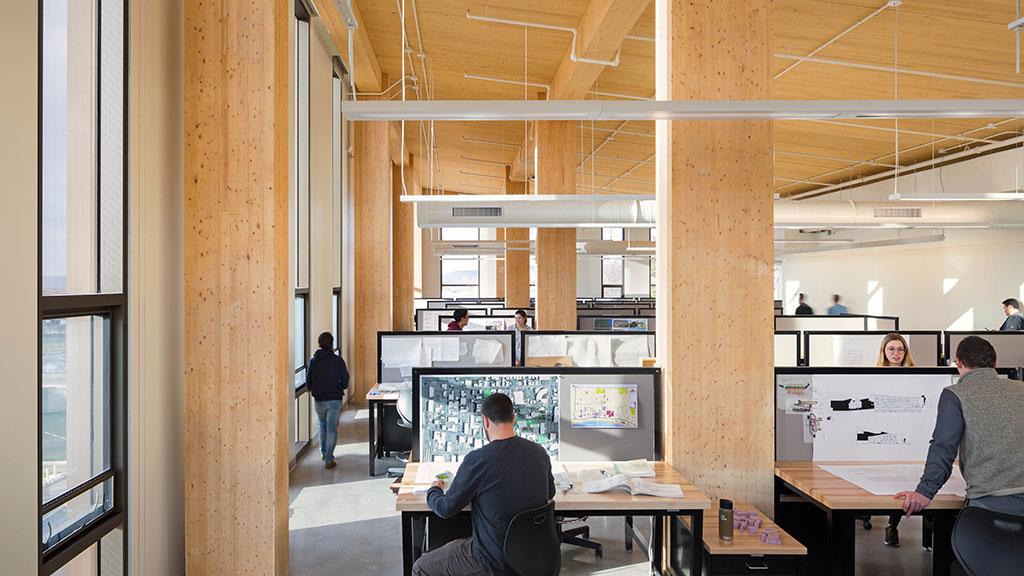 View of fourth floor architecture studio at John W. Olver Design Building, University of Massachusetts Amherst. Photo credit: © Albert Vecerka/Esto