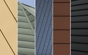 RHEINZINK continues to expand its product portfolio and color palette with the introduction of RHEINZINK-PRISMO® – color-coated, architectural-grade zinc options for roofing, façade cladding and wall products. This new product offering showcases a colorful, semi-transparent, matte finish in a choice of red, gold, green, brown, blue and black.