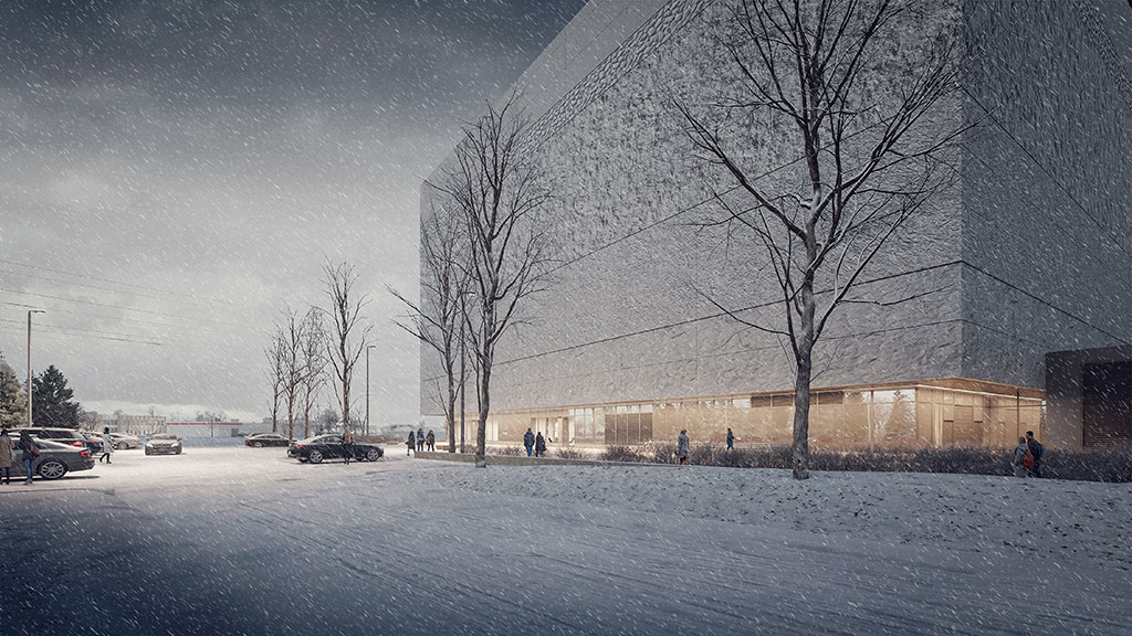 A rendering that provides a winter glimpse at Library and Archives Canada's new preservation facility in Gatineau, Quebec. (B+H Architects)